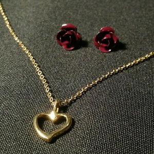 Jewelry - Rose Stud Earrings & Goldtone Heart Chain Necklace